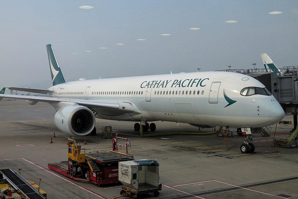 Airbus A350 900 of Cathay Pacific Aircraft Fleet B LRG on boarding gate at Hong Kong International Airport