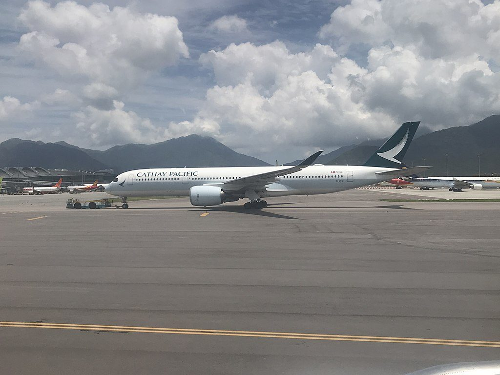 Airbus A350 900 of Cathay Pacific B LRK pushed back at Hong Kong International Airport