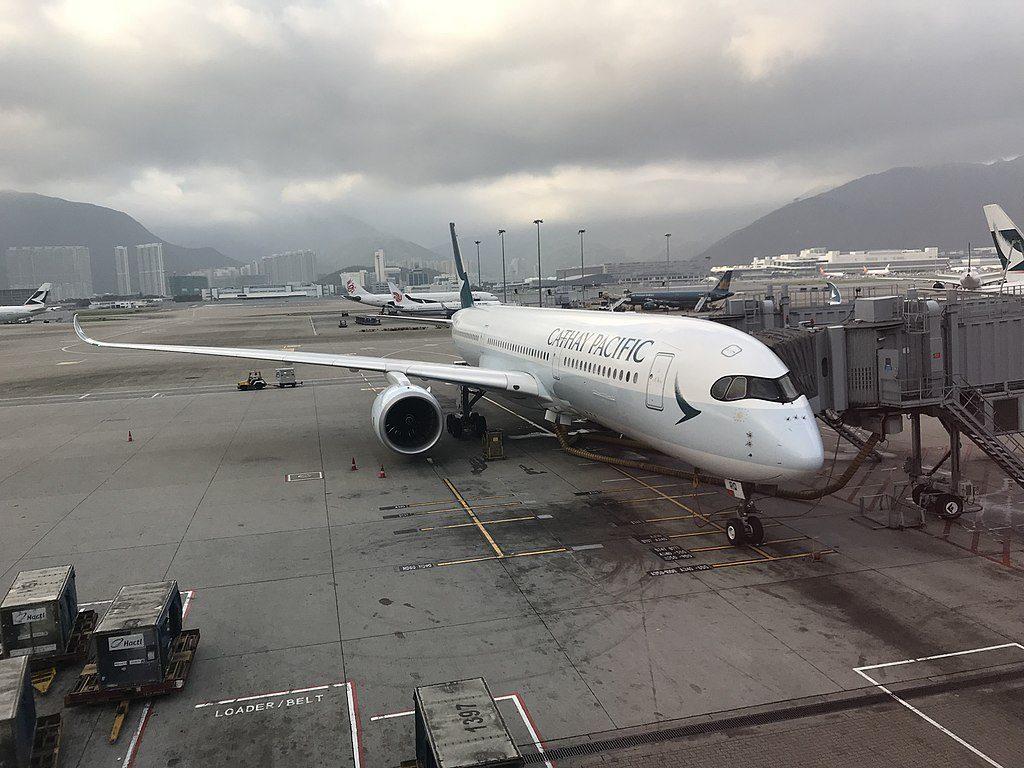 Airbus A350 900 of Cathay Pacific B LRQ at Hong Kong International Airport