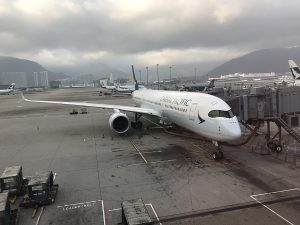 Airbus A350 900 of Cathay Pacific B LRQ at Hong Kong International Airport