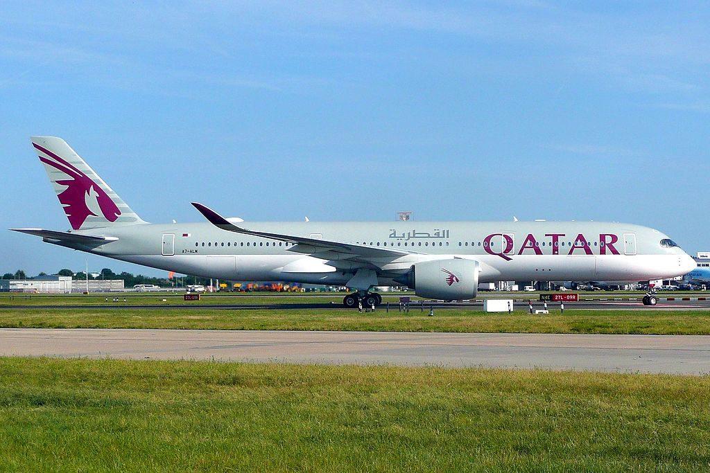 Airbus A350 900 of Qatar Airways A7 ALM at London Heathrow Airport