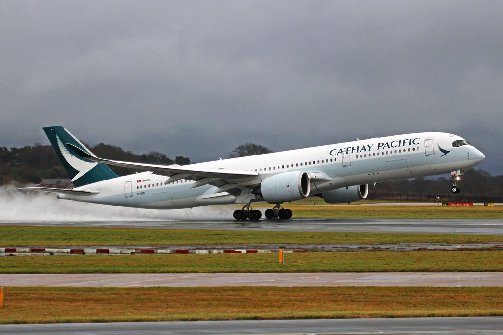 Airbus A350 941 Cathay Pacific Airways B LRS landing at Manchester Airport