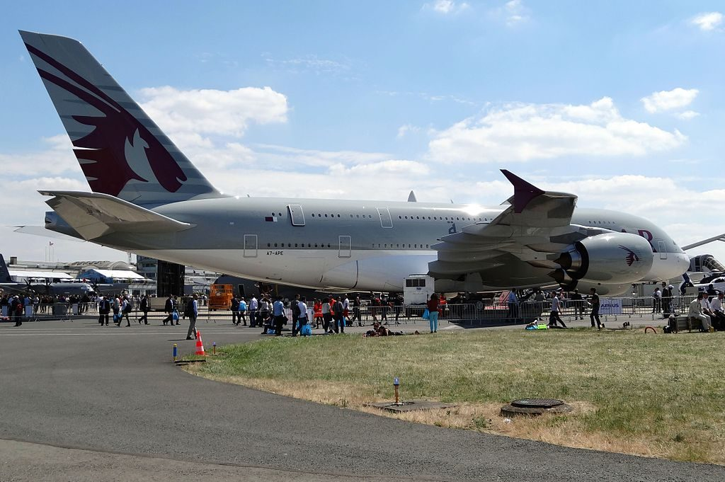 Airbus A380 800 A7 APE of Qatar Airways at Paris Airport Le Bourget