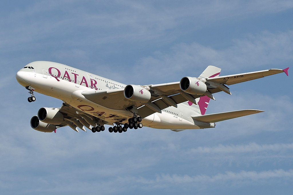 Airbus A380 800 of Qatar Airways A7 APB at Paris Charles de Gaulle Airport