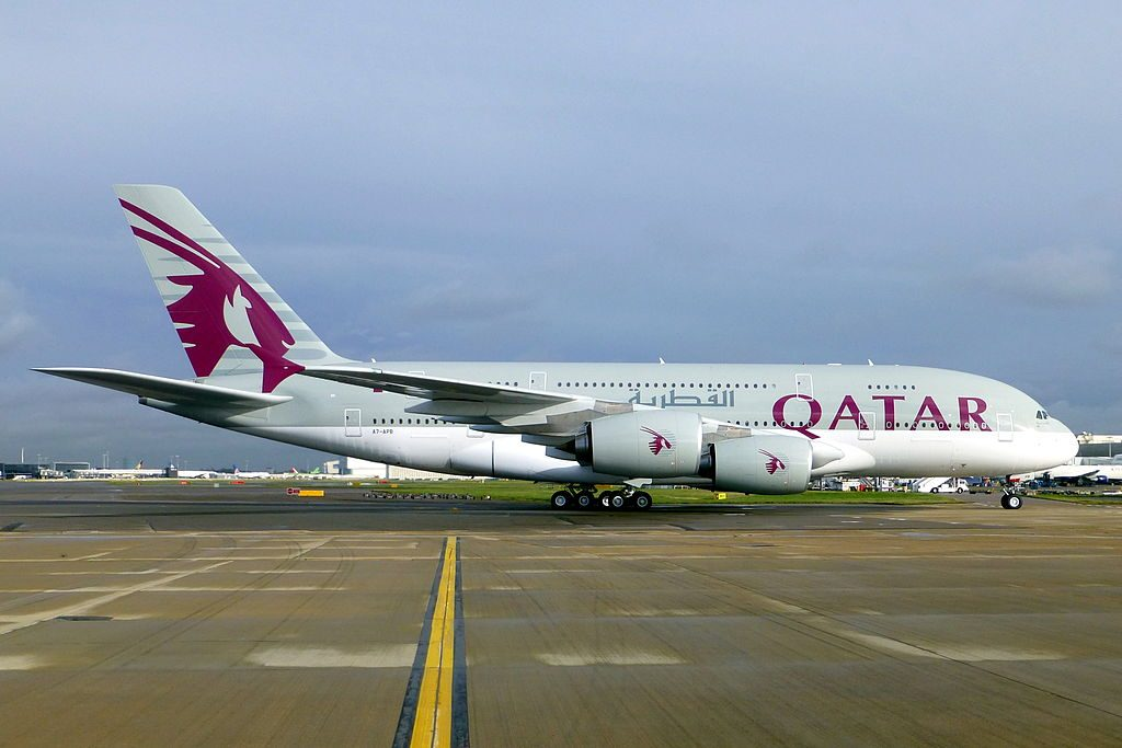 Airbus A380 800 of Qatar Airways A7 APB taxiing at London Heathrow Airport