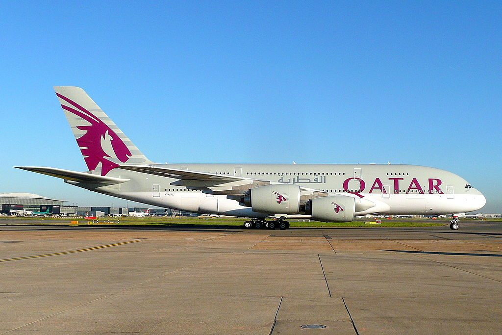 Airbus A380 800 of Qatar Airways A7 APC heading to T4 having just landed at London Heathrow LHR