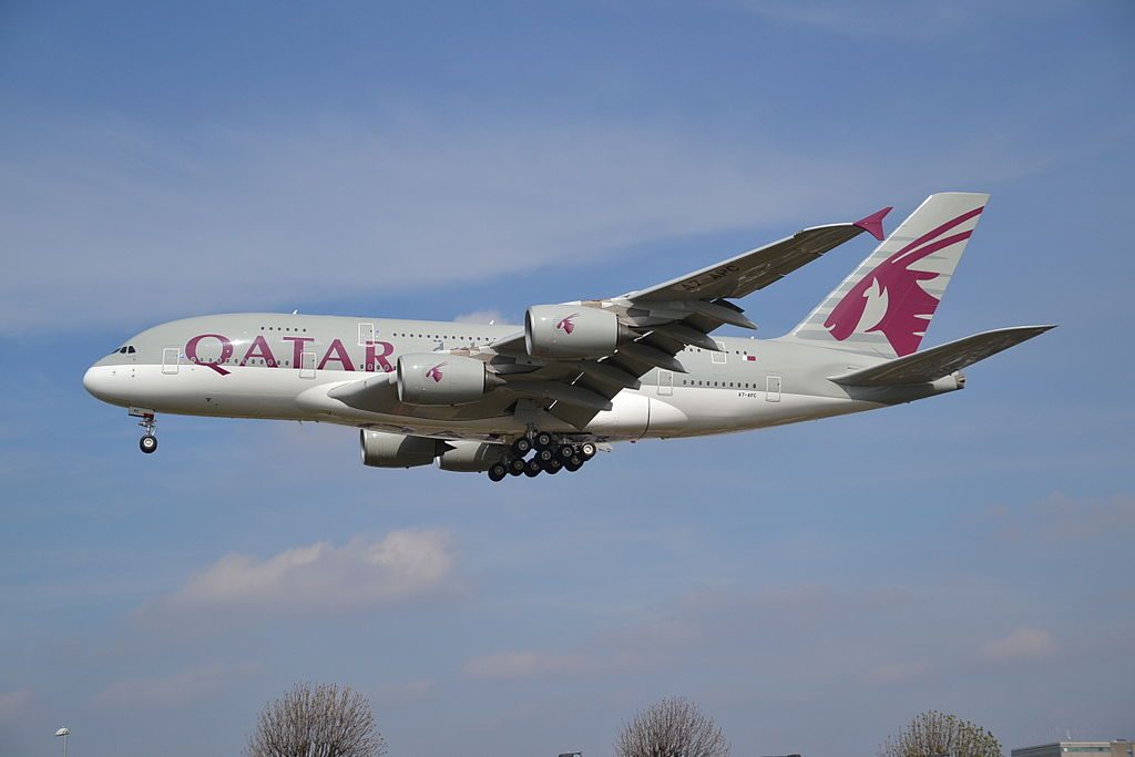 Airbus A380 800 of Qatar Airways A7 APC on final approach to rwy27L at London Heathrow LHR