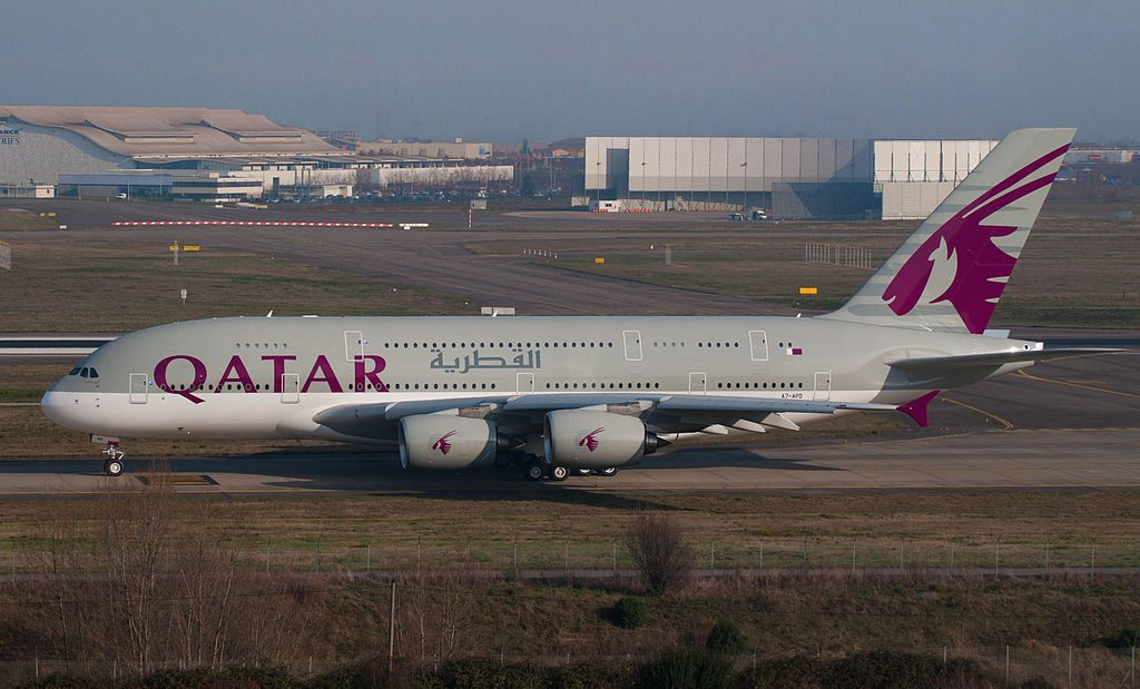 Airbus A380 800 of Qatar Airways A7 APD at Toulouse Blagnac International Airport