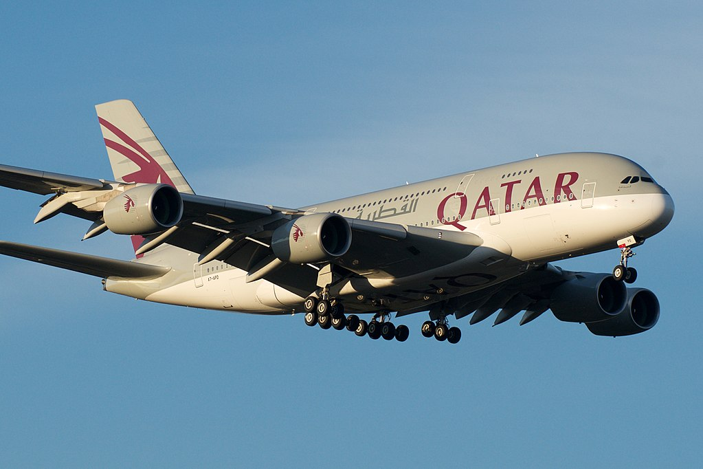 Airbus A380 800 of Qatar Airways A7 APD on final approach at Melbourne Airport