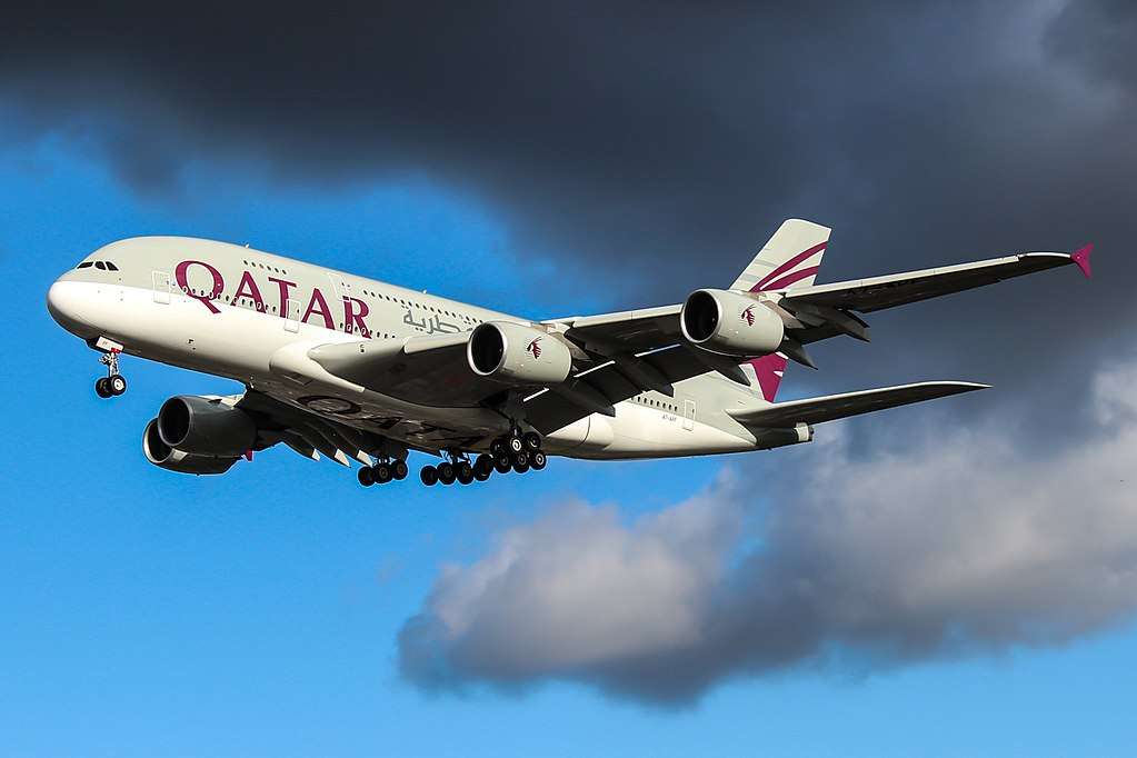 Airbus A380 800 of Qatar Airways A7 APF on final approach at London Heathrow Airport