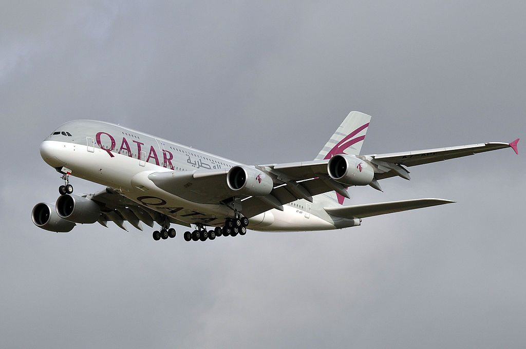 Airbus A380 800 of Qatar Airways A7 APF on final approach at Paris Charles de Gaulle Airport