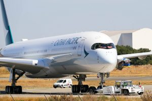 B LXG F WZGL Airbus A350 1041 Cathay Pacific Airways pushed back at Barcelona El Prat Airport