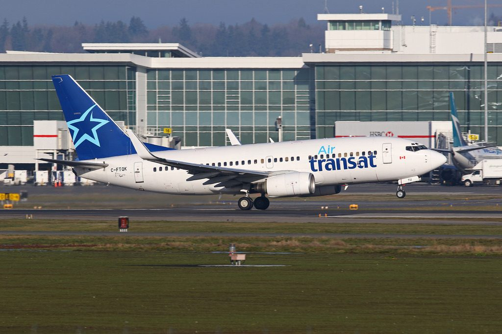 Boeing 737 700 Air Transat C FTQK Winter lease from ASL Airlines at Vancouver International Airport
