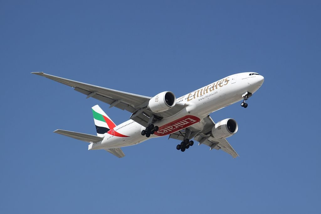 Boeing 777 200LR Emirates Registration A6 EWG on final approach at Dubai International DXB