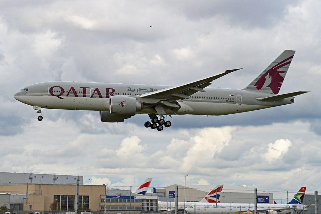 Boeing 777 2DZLR A7 BBH Qatar Airways Arriving on flight QTR011 from Doha at London Heathrow