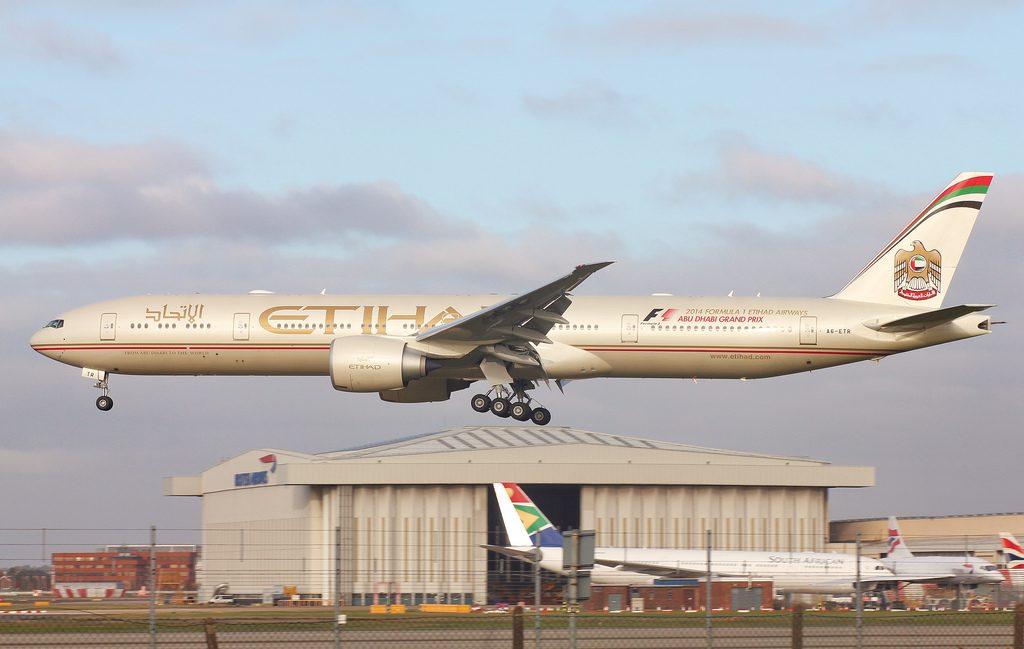 Boeing 777 300ER A6 ETR Etihad Airways at London Heathrow Airport