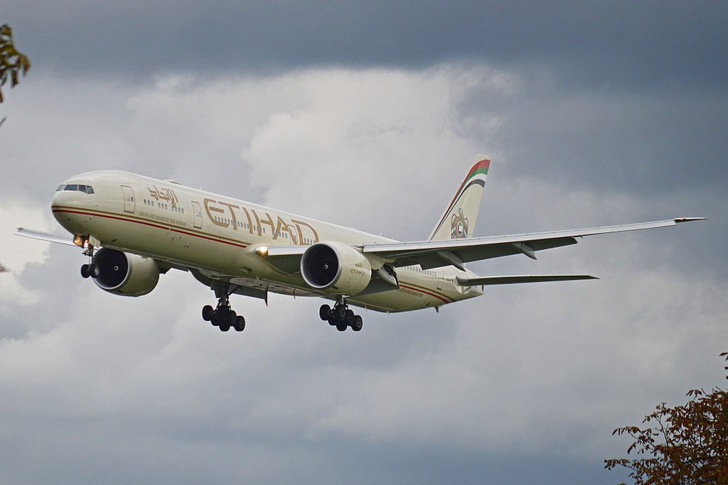 Boeing 777 3FXER A6 ETK Etihad Airways at London Heathrow Airport