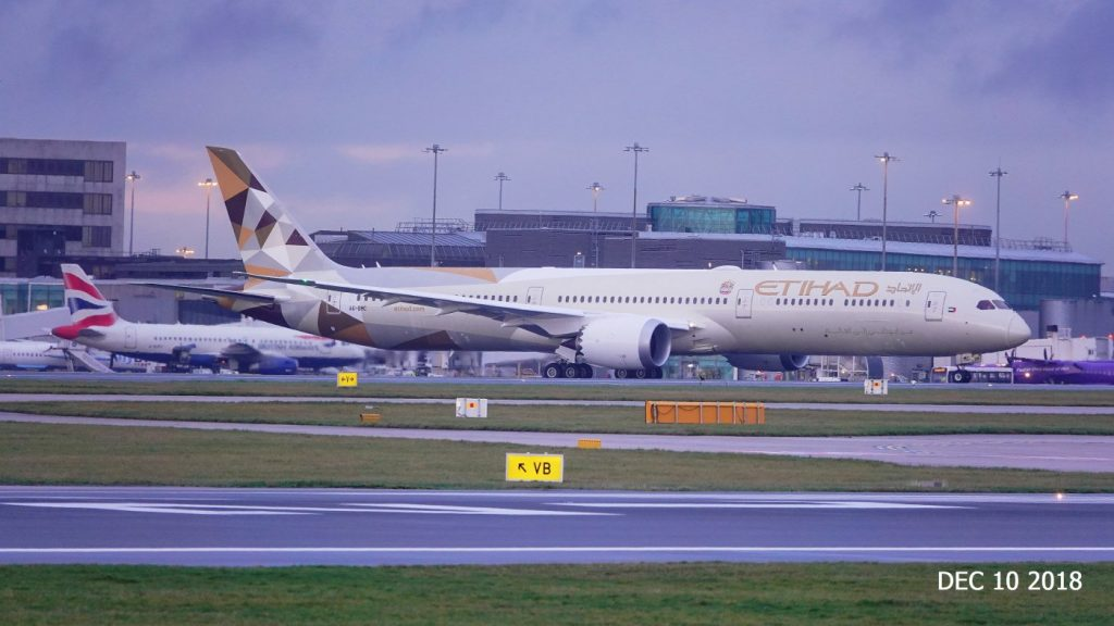 Boeing 787 10 Dreamliner A6 BMC Etihad Airways Aircraft Fleet at Manchester Airport