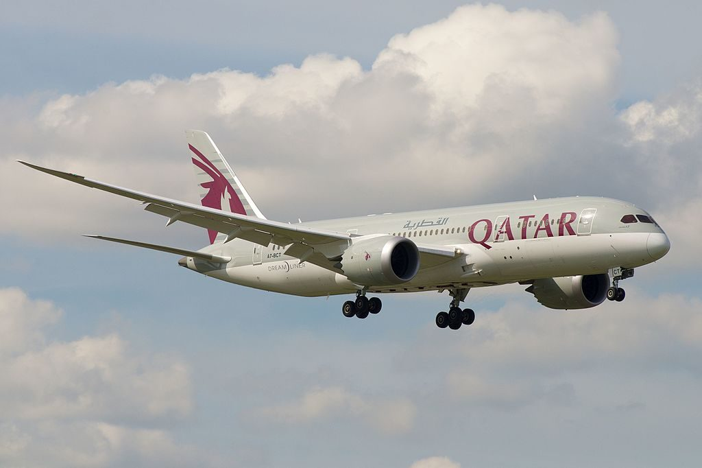 Boeing 787 8 Dreamliner of Qatar Airways A7 BCT on final approach at Amsterdam Airport Schiphol