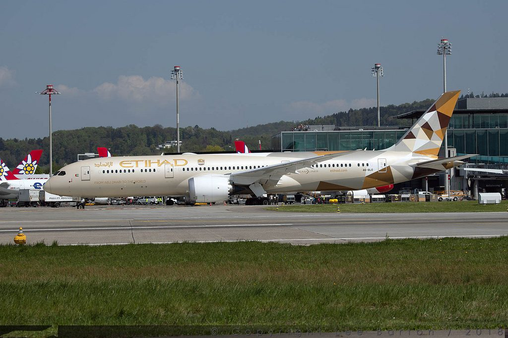 Boeing 787 9 Dreamliner Etihad Airways A6 BLO at Zurich Airport