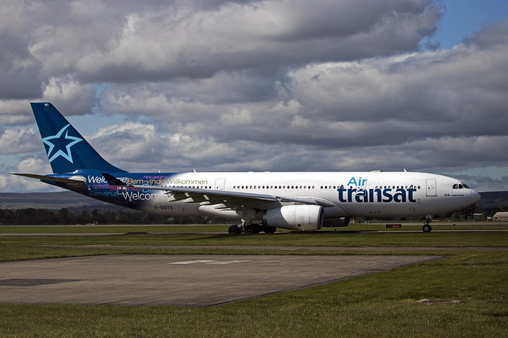 C GGTS Airbus A330 243 operated by Air Transat taxying for runway 23 at Glasgow International Airport Scotland United Kingdom