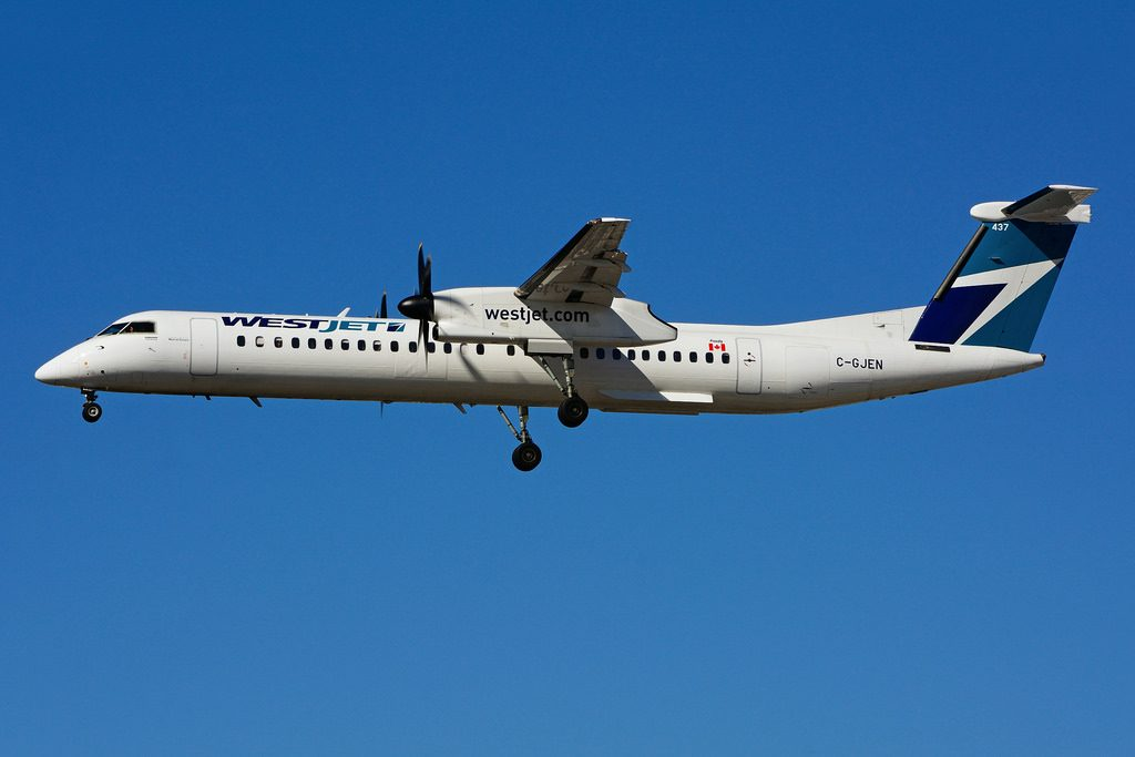 C GJEN Bombardier DHC 8Q 402 WestJet Encore on final approach at Toronto Lester B. Pearson Airport YYZ
