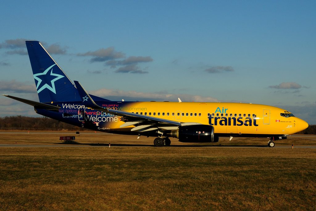 C GTQI Boeing B 737 73SW Air Transat leased from Pembroke Europe Aeropost at Hamilton International Airport YHM