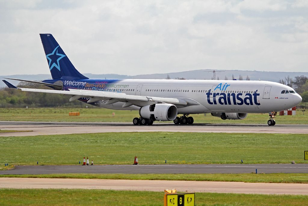 C GTSD Airbus A330 343X Air Transat Welcome arrival at Manchester Airport
