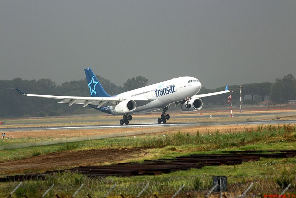 C GTSZ Airbus A330 200 of Air Transat landing at Rome Fiumicino Airport