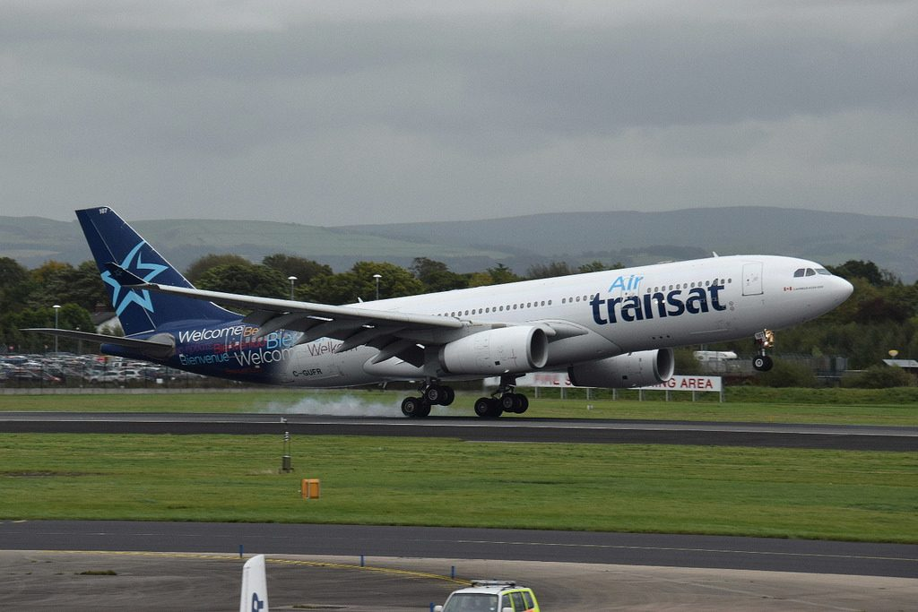 C GUFR Airbus A330 243 Air Transat Aircraft Fleet Landing at Manchester International Airport