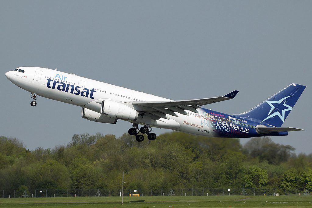 C GUFR Airbus A330 243 Air Transat Aircraft Fleet departing Manchester International Airport