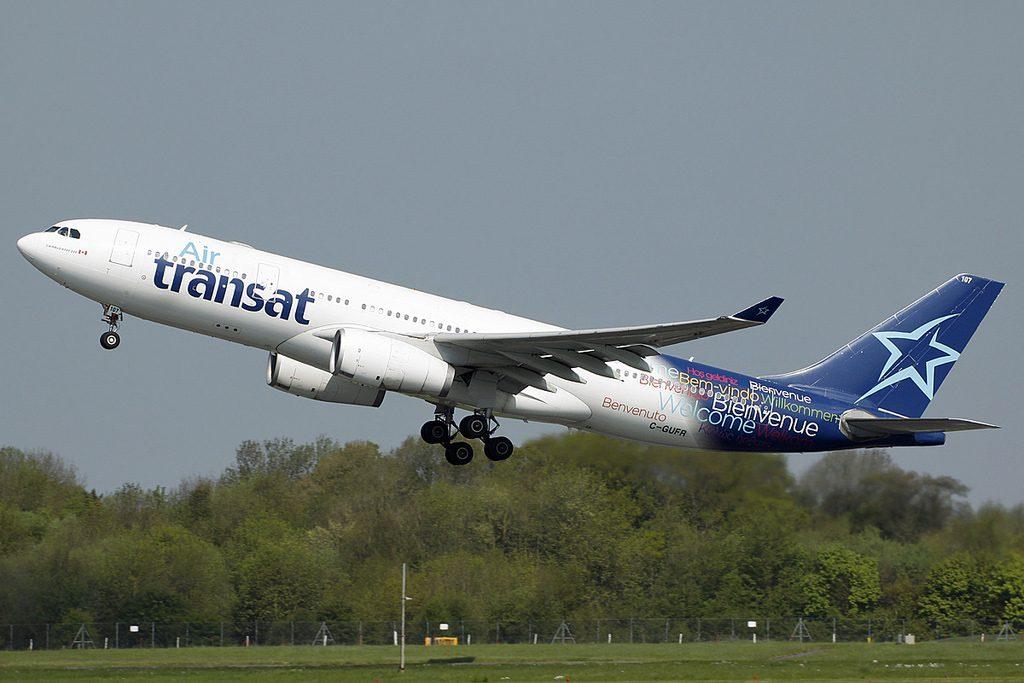 C GUFR Airbus A330 243 Air Transat Aircraft Fleet departing Manchester International Airport