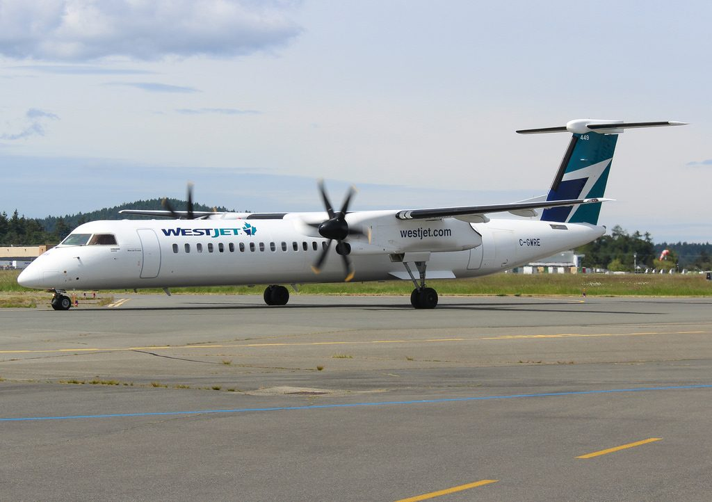 C GWRE WestJet Encore Bombardier Dash 8 Q400 at Victoria International Airport YYJ