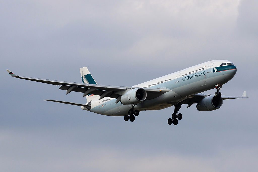 Cathay Pacific Airbus A330 300 B HLF Final approach to Runway 16R Narita International Airport