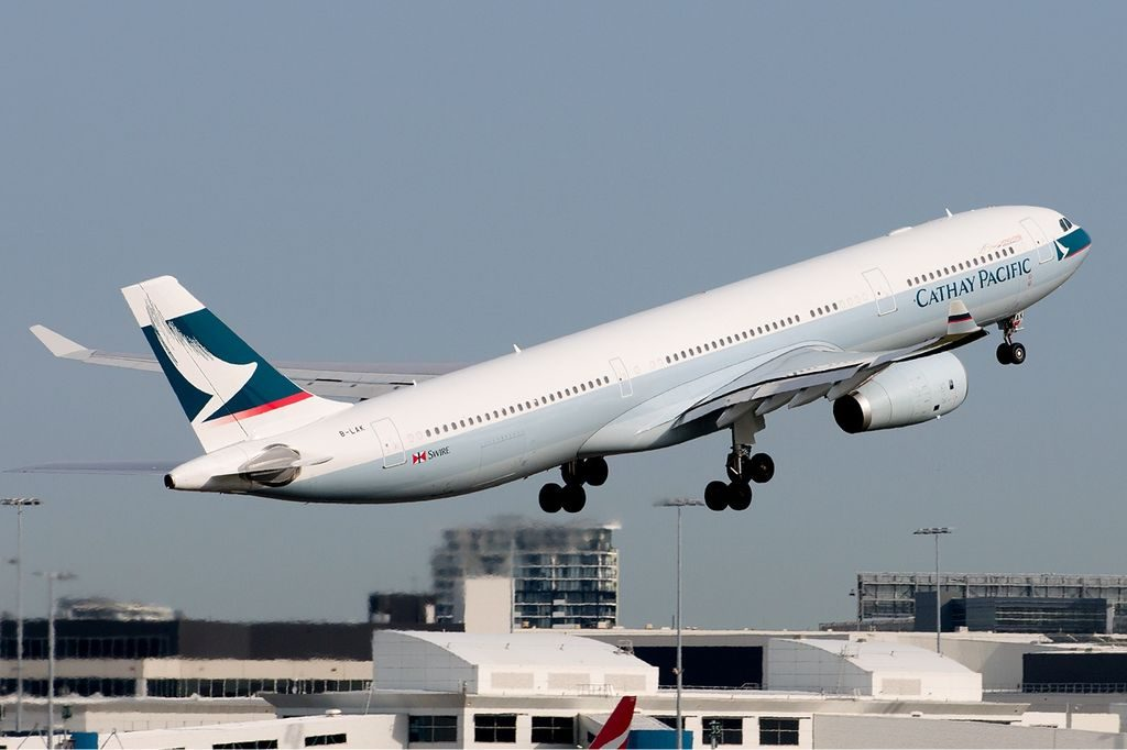 Cathay Pacific Airbus A330 343E B LAK departing Sydney Airport