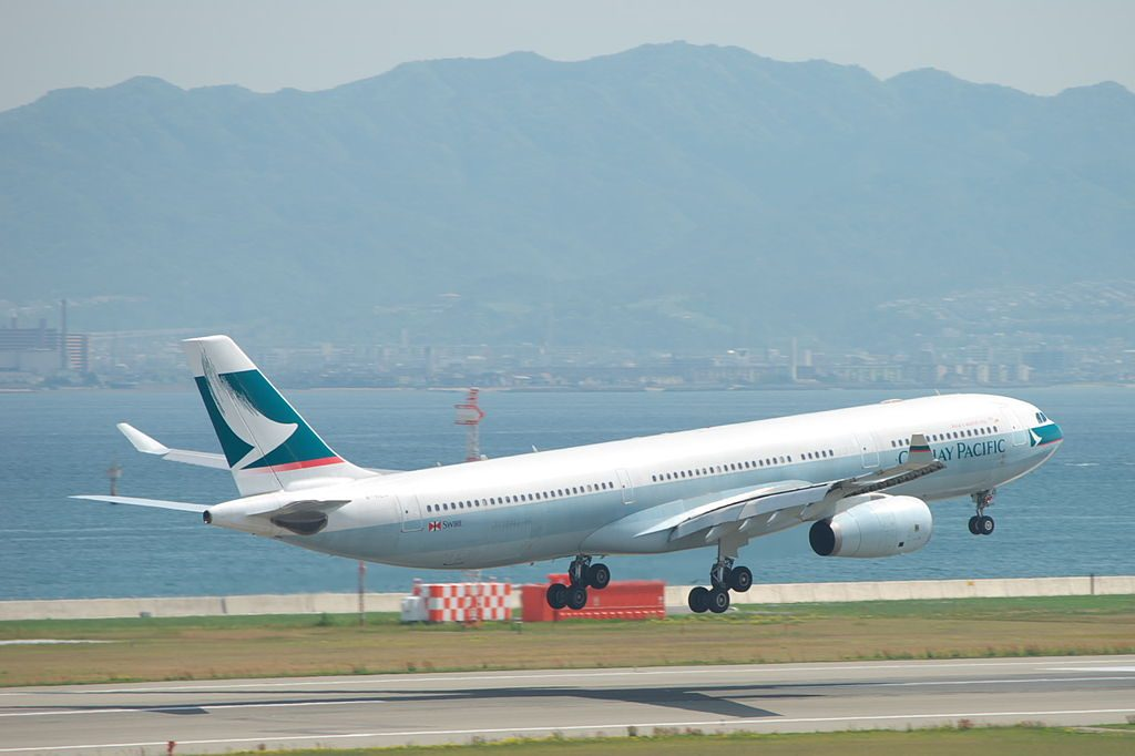 Cathay Pacific Airbus A330 343X B HLOA take off at Kansai international airport KIX RJBB