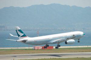 Cathay Pacific Airbus A330 343X B HLOA take off at Kansai international airport KIX RJBB