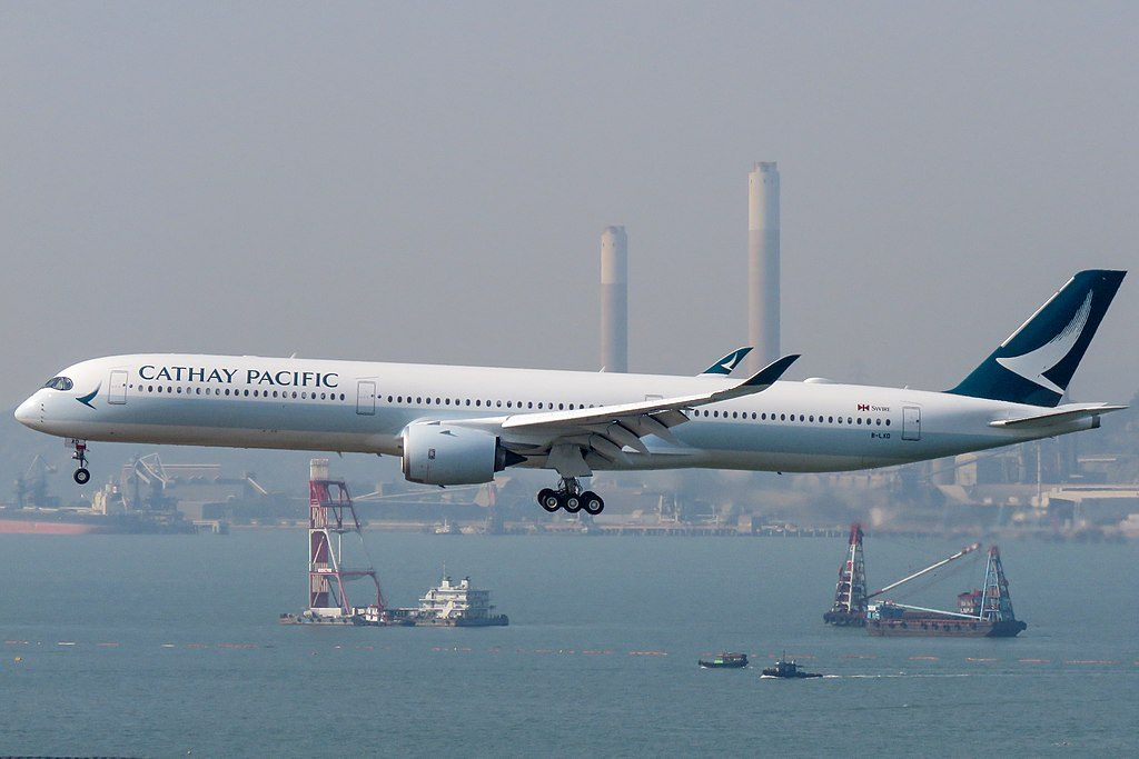 Cathay Pacific Airbus A350 1000 B LXD arrival from Bangkok at Hong Kong International Airport