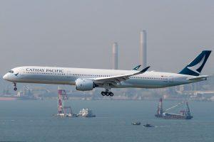 Cathay Pacific Airbus A350 1000 B LXD arrival from Bangkok at Hong Kong International Airport