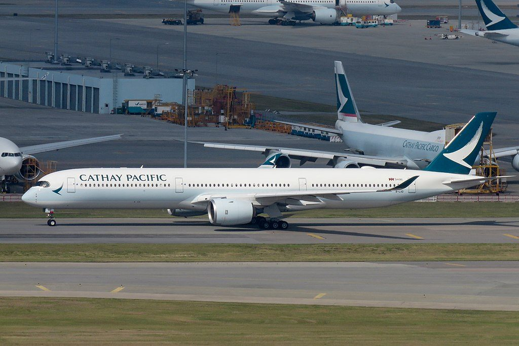 Cathay Pacific Airbus A350 1000 B LXD taxiing at Hong Kong International Airport