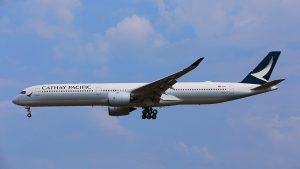 Cathay Pacific Airbus A350 1000XWB B LXA on final approach at Taiwan Taoyuan International Airport