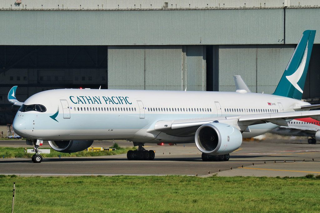 Cathay Pacific Airbus A350 1000XWB B LXA taxiing at Taiwan Taoyuan International Airport
