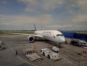 Cathay Pacific Airbus A350 900 B LRA at Dublin Airport Ireland