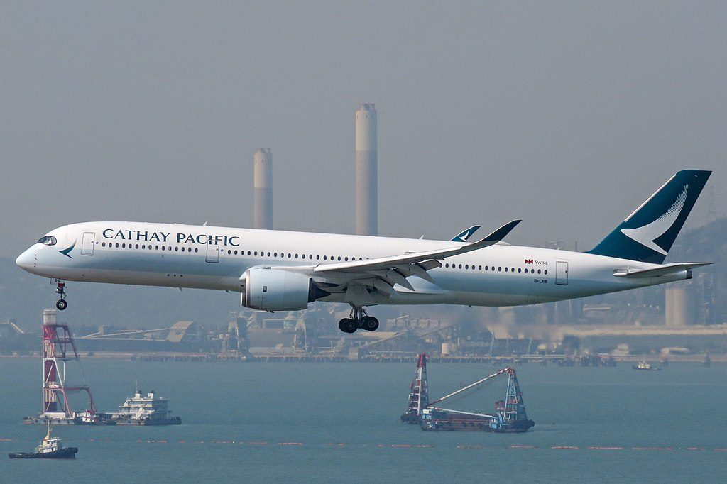 Cathay Pacific Airbus A350 900 B LRB arrival from Melbourne at Hong Kong International Airport