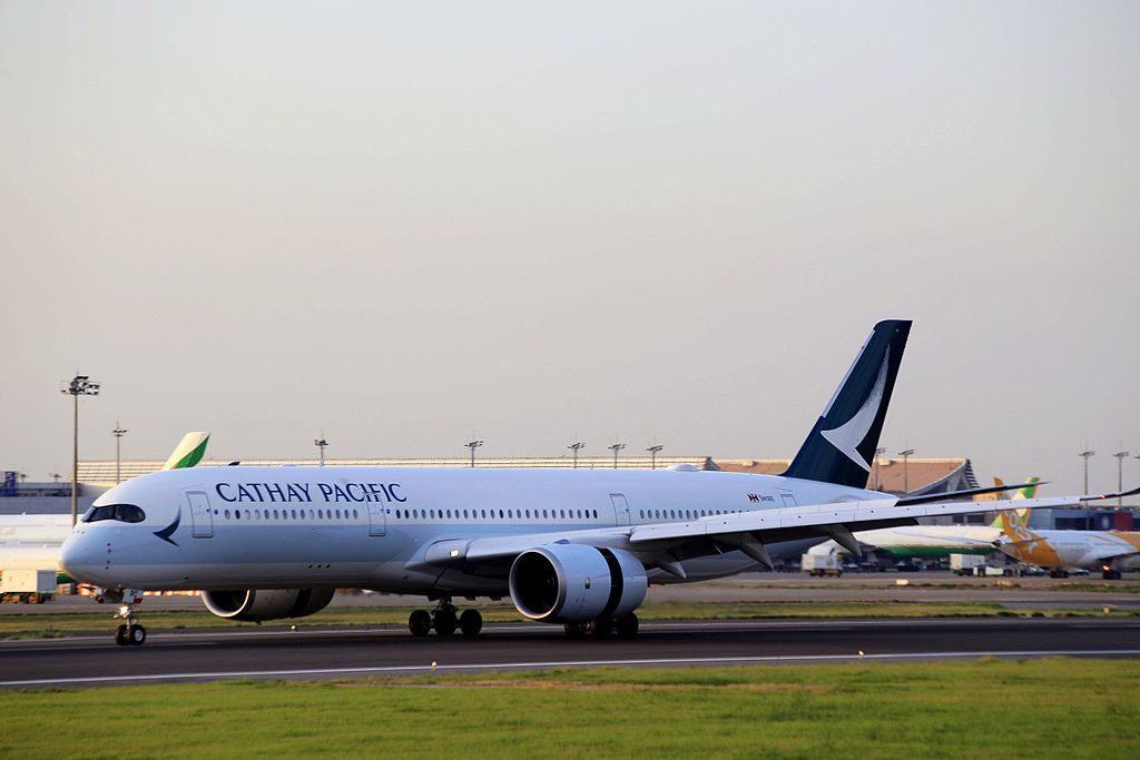 Cathay Pacific Airbus A350 941 B LRC landing at Taiwan Taoyuan International Airport
