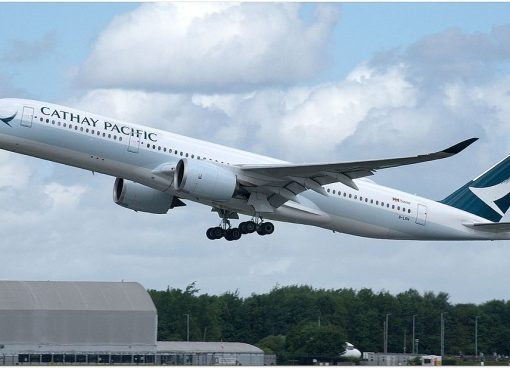 Cathay Pacific Airbus A350 941 B LRN at Manchester Airport EGCC