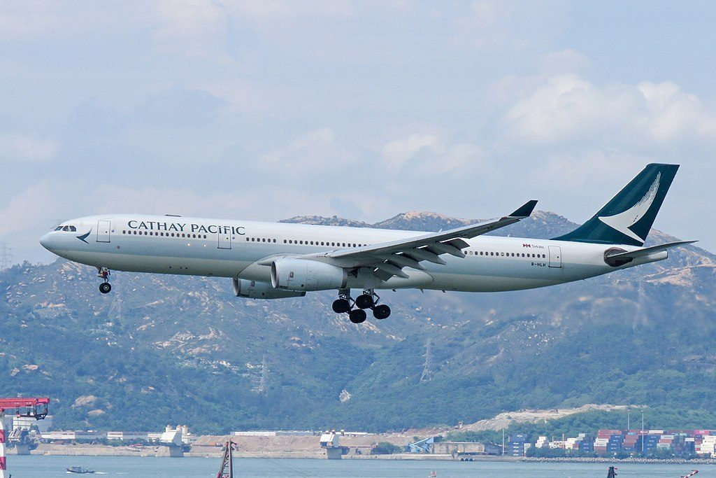 Cathay Pacific Aircraft B HLH Airbus A330 300 on final approach at Hong Kong International Airport