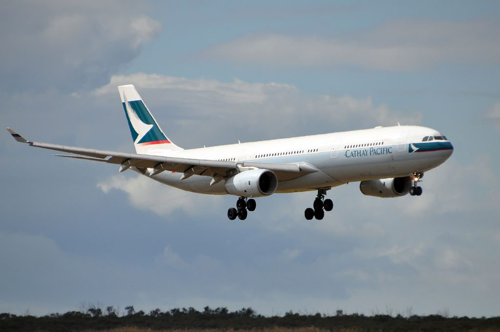 Cathay Pacific Airways Airbus A330 343X B LAJ final approach at Brisbane International Airport