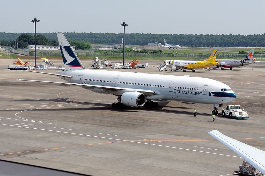 Cathay Pacific Boeing 777 200 B HNA at Narita International Airport