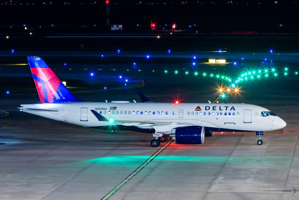 Delta Air Lines Airbus A220 100 N101DU pushback at George Bush Intercontinental Airport @Walter Edgar